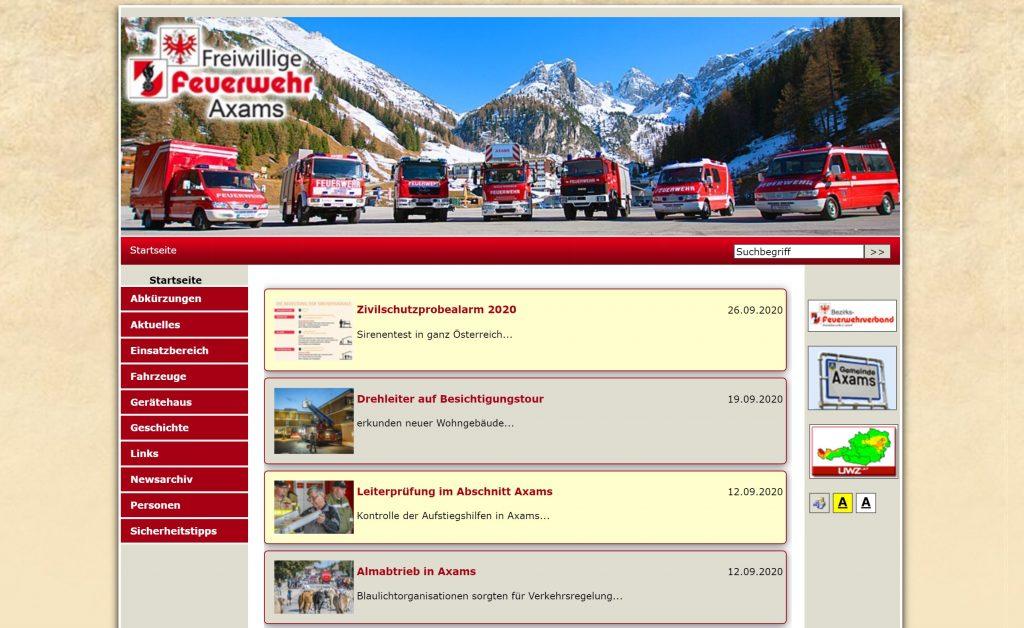 Screenshot der alten Homepage aus dem Jahre 2012 bis 2020